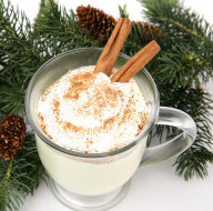 egg nog and a pine branch