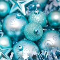 pile of blue ornaments