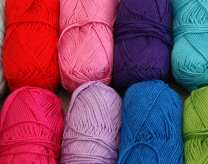 colord skeins of yarn