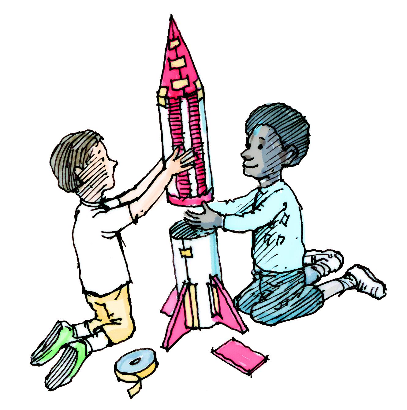 children building a paper rocket