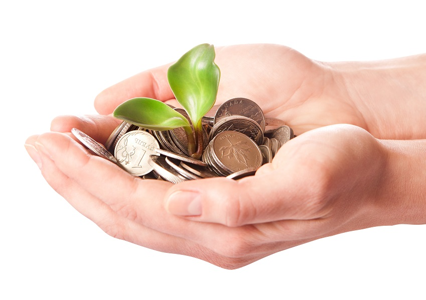 hands with sprouting coins