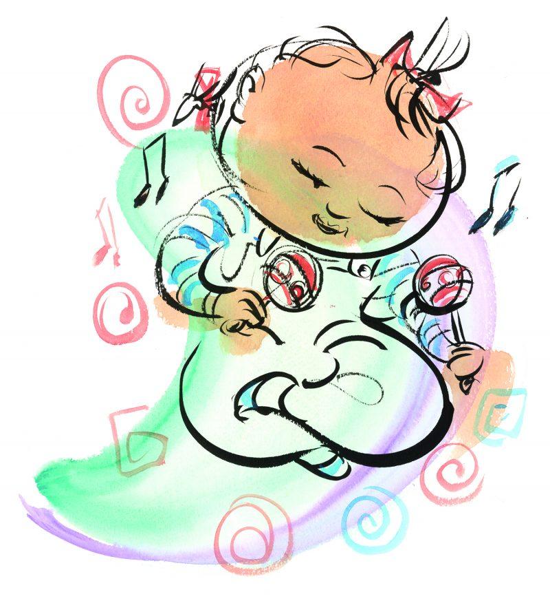 baby with maracas