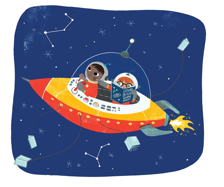 children in spaceship