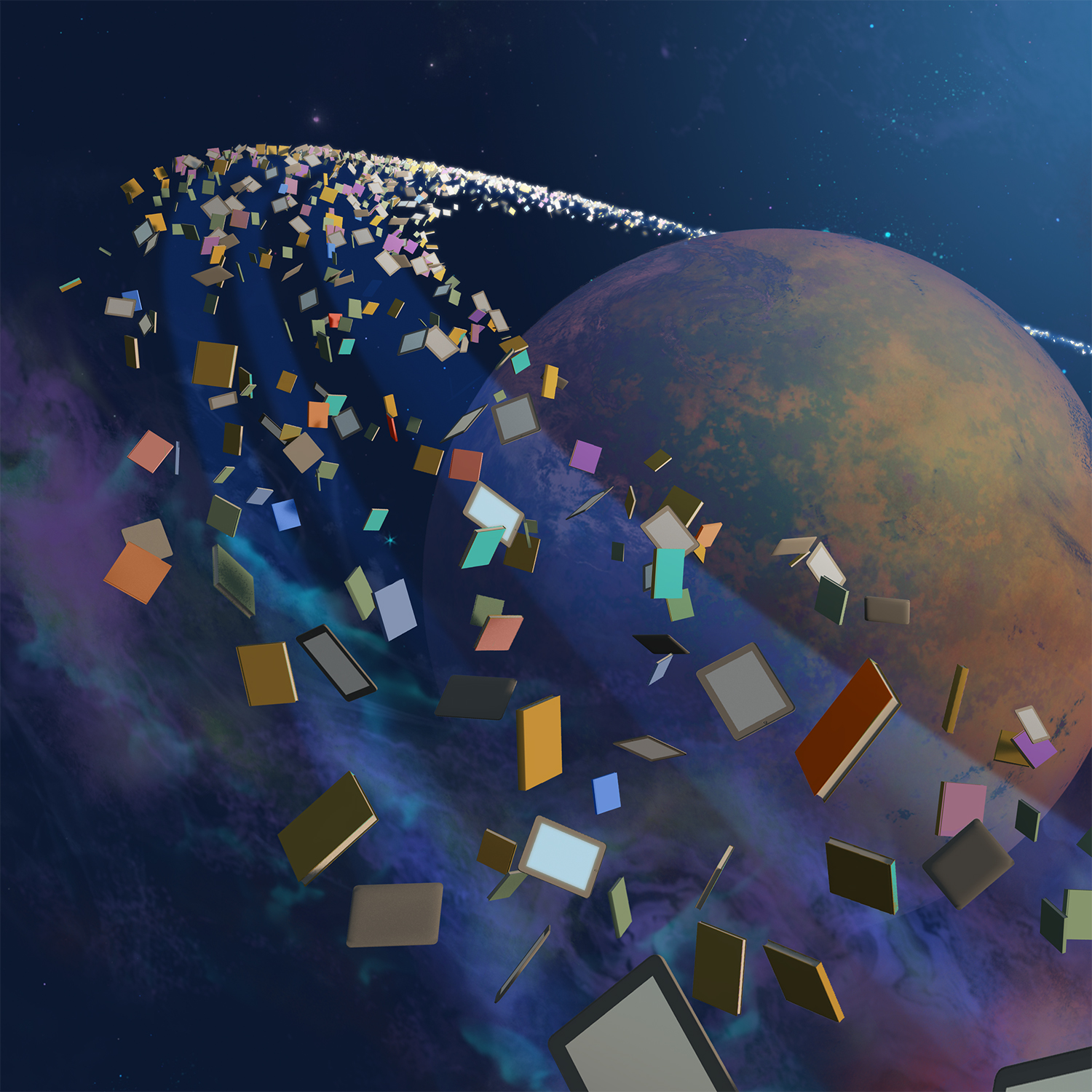 planet with rings of books and tablets